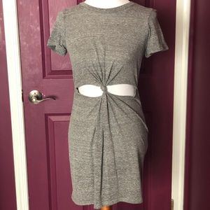 Grey tie-front dress
